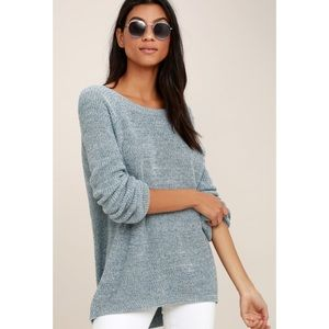 Lulu's Persuit of Happiness Blue Backless Sweater